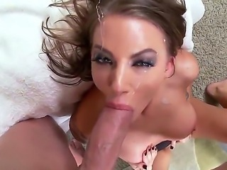 This video is a great example of spectacular cumshots on the pretty faces and in mouths. The chicks makes superb blowjobs and then swallow the cum of our horny guy.