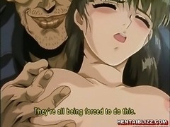 Tied hentai gets injection and brutally fucked by pervert
