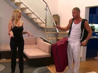 Julia Ann had a long day of horseback riding and got tired. She calls Danny Mountain for a massage. Julia looks through his bag, while Danny hides cameras in her bathroom so he can watch her change.