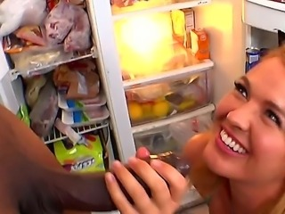 A lovely hottie Krissy Lynn is hungry and she opens a fridge looking for...