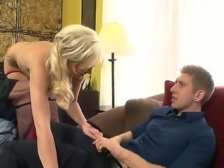 Awesome blonde whore Molly Rae came to serve two clients a father and his son. She has beautiful tattoos and sweet ass. Dressed in sexy stockings she looks incredibly hot.