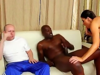 Just beautiful brunette horny India Summer pulls down Lex Steeles pants and gets on sucking his huge black dick and makes her husband to watch the fuck!
