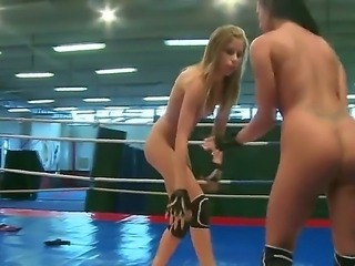 Take a look at everything what is taking place in this wrestling scene between Candy Love and Destiny! Both girls become nude and then start to have catfight on boxing ring.
