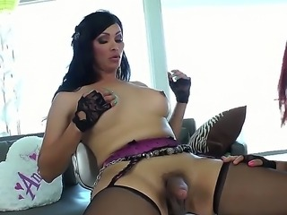 Beautiful chick is getting pleased by her nice boyfriend Vanility, as shemale Nody Nadia gets her dick sucked and ass licked out nicely by the skillful tongue of her friend.