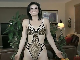 This lady in sexy leopard lingerie