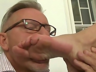 Magnificent  blonde Teena Lipoldina with her natural and lovely looks is fucking and sucking a big dick of a mature man who has gotten very tired over the course of the day.