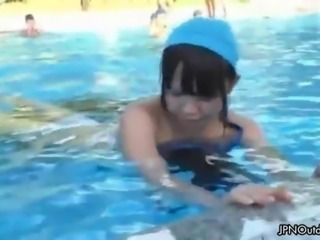 Cute Japanese swim girl gets