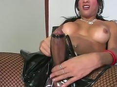 Beautiful brunette shemale bitch Jo Garcia wears her most trashy latex lingerie and fishnets in front of the camera, where she strokes off her massive johnson passionately.
