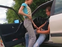 Skinny Beata gives impressive car blowjob while enjoying a road trip along...