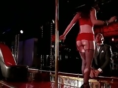 Fascinating stripteaser Jennifer White in super sexy red lingerie and black...
