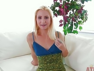 Arousing innocent looking pale petite blonde Odette Delacroix with small boobs and tight body takes off her summer dress after some talking at the interview with filthy dude.