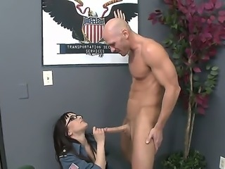 Cytherea scanners Johnnys body for dangerous objects and she seems to find one particular think - this is his big tasty dick she wants to examine. So she brings him into the detention room and fucks.