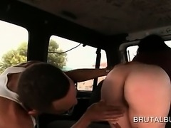 Hot ass bitch rubbing shaved pussy on the bus back seat