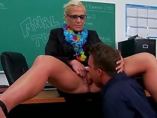 Horny teacher Amber Irons enjoys having hunk Scott Stone to pound her mature pussy hard