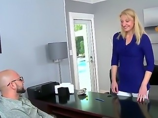 Shy blonde milf comes to the agents office and asks for a brief audition. But the bearded guy gets interested in this sluts clit piercing and amusing cock-sucking skill.