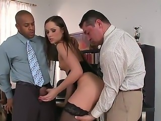 Teen girl here is fond of having sex with two guys in one moment. Today is...