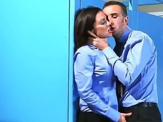 Beautiful dark haired girl Jessica Jaymes is being nicely penetrated by the big dick of Johnny Sins while being locked in a room. Enjoy the hot fuck.