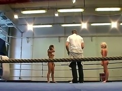 Training in the nude fight club with two wild lesbias Aleska Diamond and...
