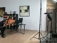 Backstage in the office with hot and naughty secretary Cipriana and her...