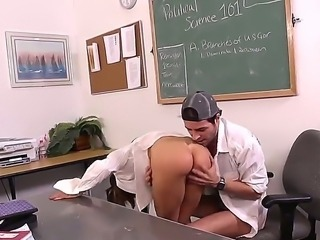 Whorish cheating brunette teacher Jenla Moore with juicy knockers and delicious ass gets fucked from behind by her horny student Kris Slater and sucks his stiff cock in classroom