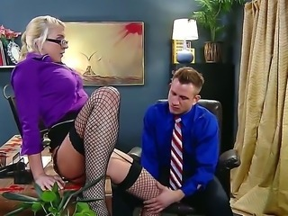 Handsome boss Bill Bailey gets seduced by smoking hot blonde secretary Leya Falcon in arousing fishnet stockings