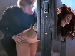 Erotic Mischa Brooks held slave stripped bent over and fucked with a huge dildo