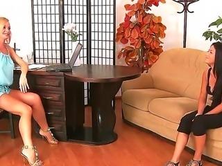 Sivlia Saint enjoys having sweet brunette Tea Jul in erotic casting with her