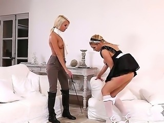Filthy and dominant blonde bombshell Lean Love heavy make up and nice medium hooters disciplines her adorable young housemaid Victoria Summers in sexy uniform and gets her feet sucked.