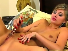 Horny prostitute Holly Anderson masturbates her clean shaved pussy in front...