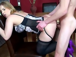 Nasty pussy licker guy working hard on sucking out Eve Foxs cunt juices and the bents her over doggy style on chair and stuffs his huge dick in her cunt from behind!