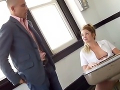 The sympathetic blonde pornstar Jessie Andrews with a small tits gets seduced...