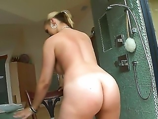 Sarah Vandella invites us to take a shower with her! She is sure to make us horny as hell while we watch how she spreads that gorgeous ass and squeezes her shapely boobs.