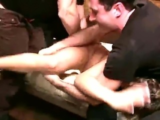 Very hot bitch is fucked hard in the ass, double penetrated by a group of boys