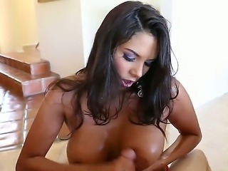 This big titted latin seductress Missy Martinez treats her man with an...
