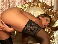 Hot and sexy tall brunette Cindy Hope sexily posing in great lingerie and...