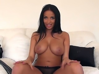 Busty dark haired chick Anissa Kate likes being filmed naked on camera by her...