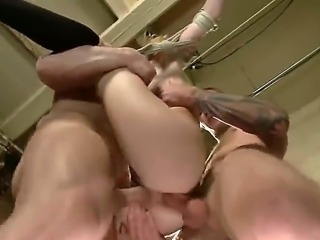 Pale petite blonde Emma Haize with natural boobs gets tied up to hang from ceiling and gets her tight add and hairless pussy demolished in rough interracial gang bang.