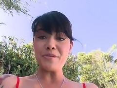 Slutty brunette MILF lady Dana Vespoli takes her tight blue pants off and...