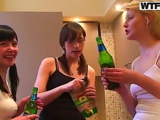 Aspen, Berta together with Milana and Pandora get awfully drunk to be free in their nasty hardcore actions