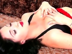 This raven-haired rose is outfitted in her favorite lingerie, colors of red and black, and shes here to tease us with a super hot show! Stunning whore loves getting pleasure!