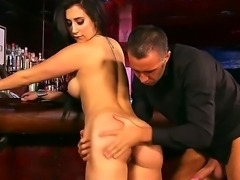 Brunette Valerie Kay enjoys free drinks and a huge dick from Bartender Keiran...