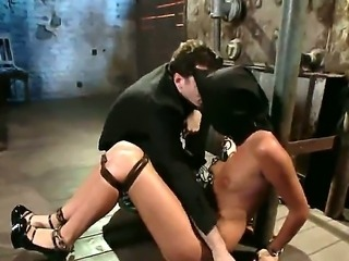The obedient roped and gagged redhead pornstar Cassandra Nix gets penetrated...