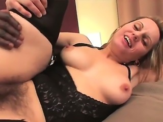 Turned on lusty whorish milf Magda with big juicy ass and natural tits in black stockings cheats her husband with horny handsome black stud in hardcore action in hotel room.