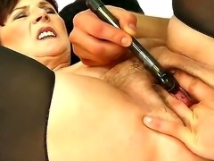 Fellow undresses busty gilf examining her delights. He starts fucking pussy...