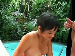 Incredible brunette Marcelly loves to deep throat Roge Ferros huge dick