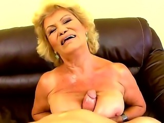 Hardcore and horny blonde granny Effie can not calm her sexual hunger and presents wild tittyfuck, blowjob and hair pussy penetration experience for a young boy!