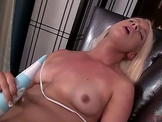 Naughty blonde bitch Kristen Jordan becomes totally bare. She is showing all parts of amazing body before taking vibrator and starting to rub clitoris by the toy.