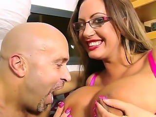 Sexy slut Emma Butt showed off her extra large boobs and got fucked and licked off by her bald fucker friend!