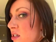 Gorgeous brunette slut Valerie Luxe swallows the erected cock and then gives...