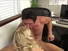 Petite blonde schoolgirl Jessie Andrews gives head to muscled fucker Tommy...